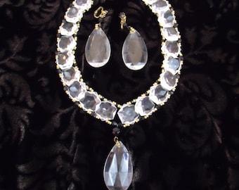 Vintage Unique Clear Lucite Prism Statement Necklace & Earring Set