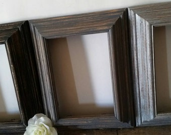 Black and Grey Picture Frame Set Of 3 With Glass 5x7 Shabby Chic Wall Decor