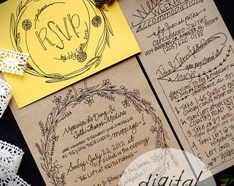 48 HOUR TURNAROUND: DIGITAL;Wedding Invitation; Custom; Hand Lettered; Rustic; Woods; Wedding; Illustration; Illustrated; Unique; Floral;