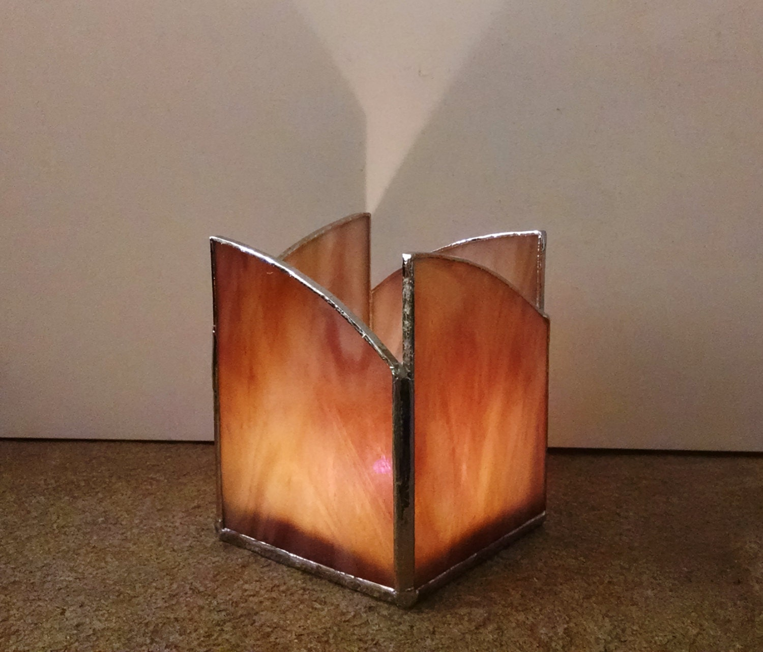 Stained Glass Candle Holder Mauve And Gold Swirl Home