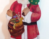 SANTA CLAUS Christmas Stocking Hanger with Yellow Horse