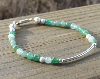 Women's Green Agate and silver bracelet with swivel lobster clasp