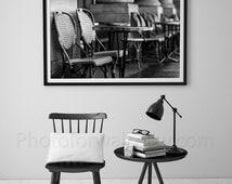 Paris bedroom decor/Black and white Paris photography/cafe chairs decor/Personalized home decor/Fine art Print, France, wall art, home decor