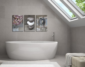 Hydrangea Print Bathroom Wall Decor Set Of 3 Prints/large Canvas Art/Bathroom  Art