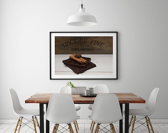 Kitchen art, Paris photography,chocolat, cinnamon sticks,rustic kitchen wall decor, food photography, wall art, kitchen print, kitchen decor