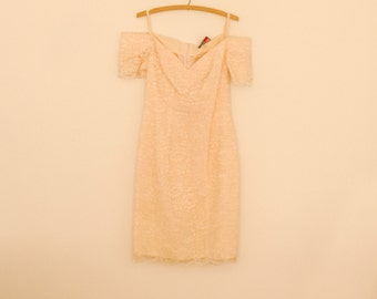 Pale Pink Lace Off-the-Shoulder Dress - 1980s