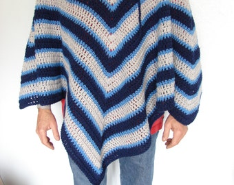 Hand Crochet Dark Blue, Light Blue and Gray Adult Hooded Poncho One Size fits Most