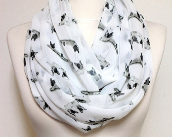French Bulldog Pattern Infinity scarf, Circle scarf, Loop scarf, Scarves, Shawls, spring - fall - winter - summer fashion