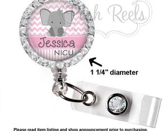 Cute Elephant Badge Reel - Personalized NICU Elephant Badge Holder - Pink Elephant Rhinestone Badge Reel, Bling Badge Reel - 0627