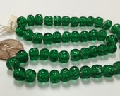 50 Vintage Japanese Cherry Brand Glass Emerald 8mm. Baroque Round Beads 4600T