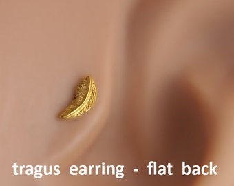Tragus earrings, Feather tragus earring, tragus 16G, tragus BioFlex, tragus piercing, labret piercing,tragus earring flat back,trgus gold