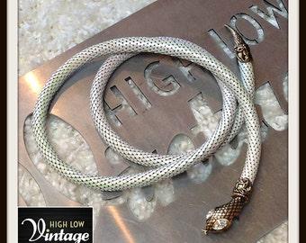 Vintage White Mesh Whiting Davis Necklace Belt Snake Rhinestone FREE SHIPPING