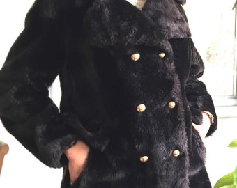 60s faux fur pea coat, grosgrain satin lined, warm and super soft, mod black coat
