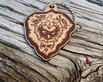 Wasteland Oddities Custom Hand Painted Leather Nothing Sacred Heart Tags!