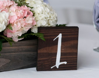 Table Numbers Wooden, Wedding Table Numbers, Table Number Wedding - Single Wedding Table Number Rustic - TB-12