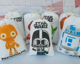 """Birthday Favor bags Star wars Great for treats or gifts Personalized 5"""" X 7"""" OR 6"""" X 8"""" Qty 7"""