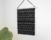 MudCloth Wall Hanging, Geometric Woven Tapestry, Black White Modern Wall Art . Weaving . Vintage Mud Cloth Tapestry . Mid Century Modern