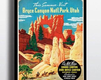 Bryce Canyon National Park Print Vintage Art Print Travel Poster Travel Prints Illustration Retro Mid Century Nature Camping Cabin Decor