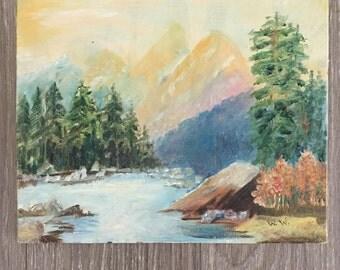 Original Landscape, Vintage Canvas, Western Landscape, 1960s Art, Mountain Scene, Gallery Wall
