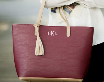 Aubrey Tote Purse with Monogram in Wine, Monogram Tote Purse, Monogram Aubrey Purse, Wine Purse, Wine Monogram Aubrey Purse, Wine Tote