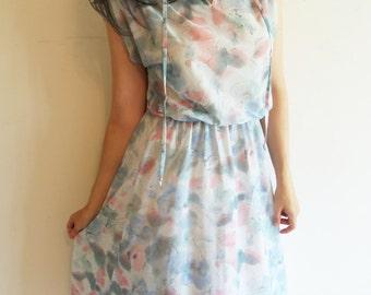 Vintage 70s Polyester Pastel Floral Semi Sheer Dress