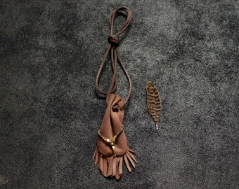 Leather Medicine Pouch • shaman • neck pouch • nomad boho hippie cream brown