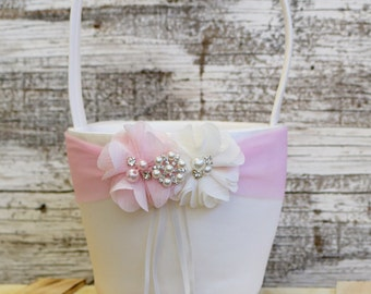 Your DESIGN ,Blush Pink Flower Girl Basket , Wedding Basket , Flower Girl Basket