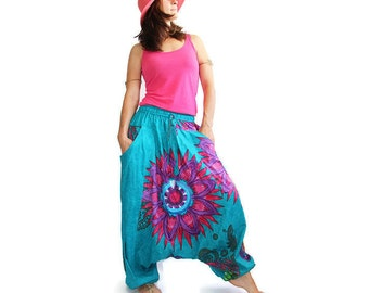 Boho Harem Pants - Women's Aladdin Trousers - Afghani Pants - Alibaba Pants - 100% Cotton