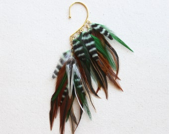 Bali Green & Natural Feather Ear Wrap in Gold