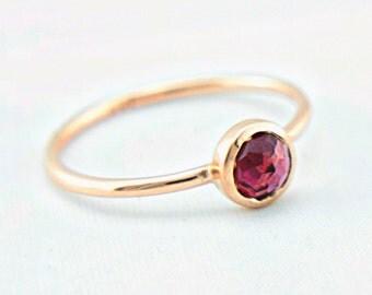 Rhodolite Garnet Rose Gold Ring 14k Gold Rose Cut Pink Garnet Gold Ring Size 8 Alternative Engagement Ring Pink Engagement Ring