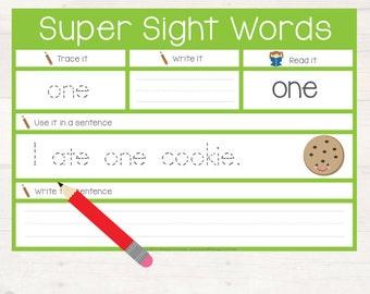 Super Sight Words - Dolch Pre-Primer Sight Word Sentences