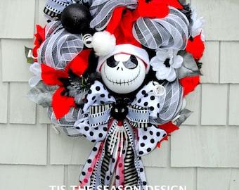 Nightmare Before Christmas Wreath, Jack Skellington Wreath, Black and White Stripes Santa Hat