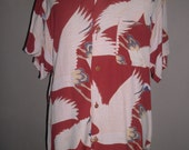 Sun Surf Toyo Hawaiian Rust Brown Crepe Rayon Shirt , Design Flying Cranes , 40's Toyo Japan Vintage Reproduction, Superb Condition