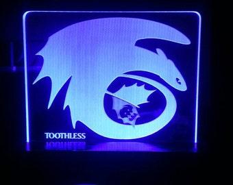 Toothless  How to train your Dragon Acrylic LED light sign, led display sign, led lite sign, led night light, LED sign, LED lamp