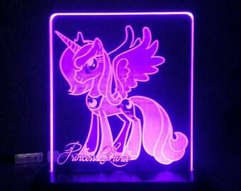 Princess Luna my little pony Acrylic LED light sign, led display sign, led lite sign, led night light, LED sign, LED lamp