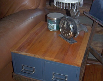 The Sidney End Tables, Steampunk Industrial Inspired Reclaimed and Vintage End Tables