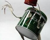 "Recycling RUSTY  ROBOT SCULPTURE -""Thinking Of You ""- assemblage art,metal sculpture,fantasy art sculpture,reused sculpture"