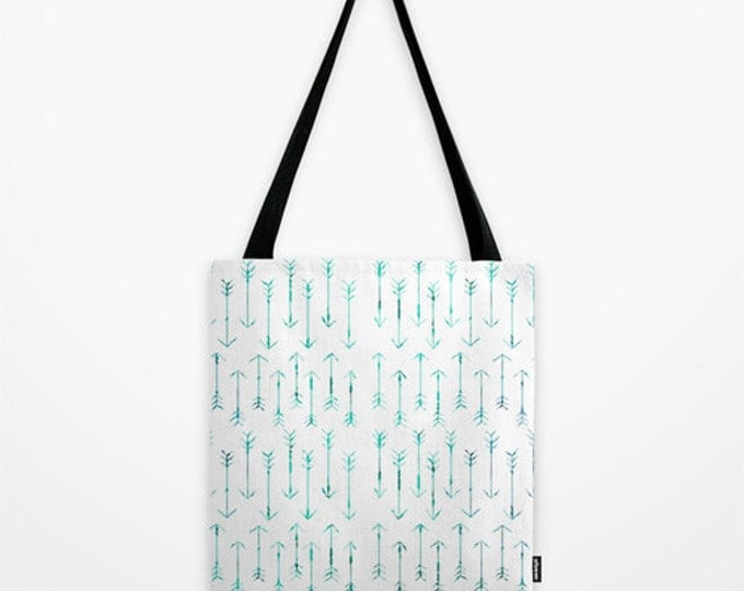 Arrow Tote Bag - Teal Hand Drawn Arrows - Book Bag - Grocery Bag - 3 Sizes - Made to Order