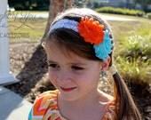 Spring Headband-white lace elastic, orange and aqua flowers