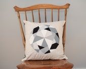 Diamond Pillow - Quilted, Neutral Black/Grey/White - Pillow Cover