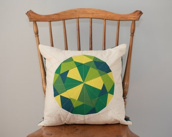 Green Throw Pillow - Peridot Jewel, Quilted Gem - Pillow Cover
