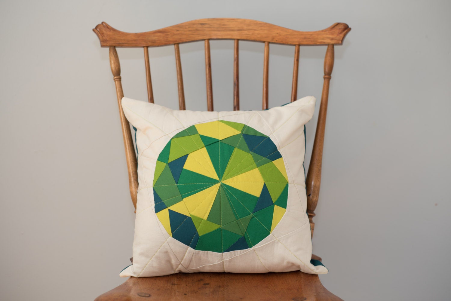 Green Throw Pillow Peridot Jewel Quilted Gem Pillow Cover