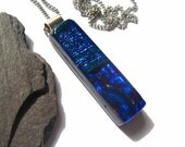 Blue, Aqua emerald dichroic fused glass pendant necklace. Stunning piece of Individual statement jewellery for her,birthday,best friend gift