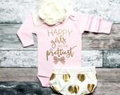 Baby Girl Clothes Happy Girls Are The Prettiest Shirt Baby Shower Gift Bodysuit Baby Girl Shirt Shirt Glitter Shirt Baby Gift #93