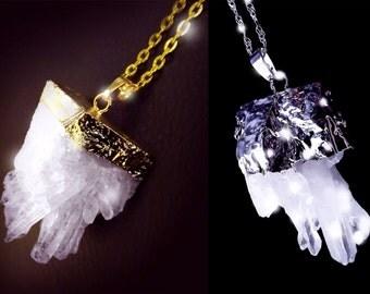 Quartz crystal necklace, crystal cluster necklace, Boho necklace, gold quartz necklace, healing necklace, silver quartz necklace, OOAK