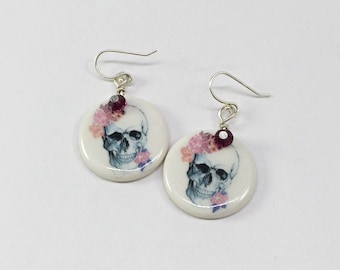 ceramic dangle earring/ floral skull earring/ purple and pink flower/ porcelain jewelry/ sterling silver/ swarovski/ handmade/ Julia Claire