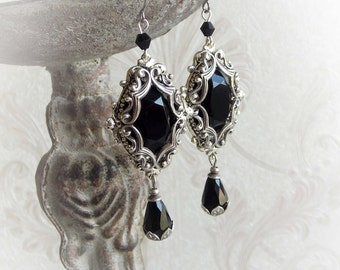 Back jewel dangling earrings gothic victorian dangle earrings black stone hanging earrings black crystal baroque earrings jewelry gift