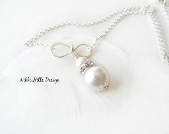 Infinity Bridal Necklace, Ivory or White, Bridal Necklace, Nikki Hills Design, Pearl Rhinestone