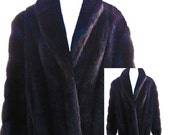Black Faux Fur Coat / Made in USA - Fits Size Large to XLarge