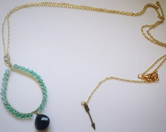 Gold with Silver Wire Wrapped Beaded Drop Necklace
